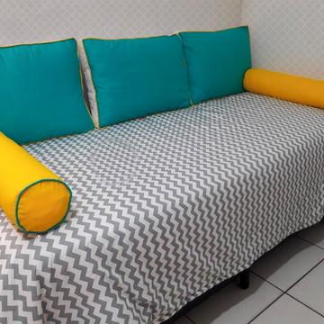69fb215b21 KIt cama solteiro chevron tiffany amarelo