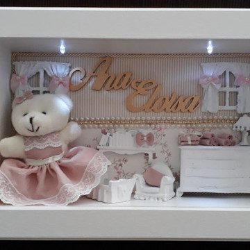 Porta Maternidade cenário com ursinha
