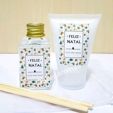 Brinde Corporativo Kit Natal mini aromatizador + cosmético