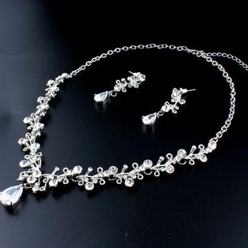 Conjunto Colar Silver Prata Flores Brincos Cristais Strass2