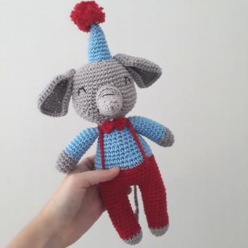 Oswaldo Elefanto amigurumi boneco de crochê decoração