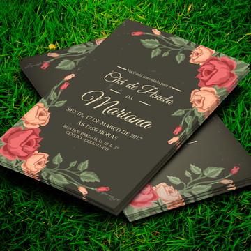 Convite Chá De Panela Floral Old 10x7cm