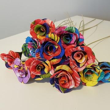 Flor de chita - Botão de Rosa - Lembrança de Festa