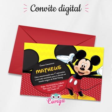 Convite Mickey Aniversário - Digital