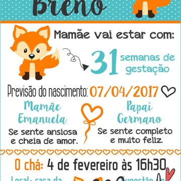 arte digital convite cha de bebe raposinha - leia descrição.