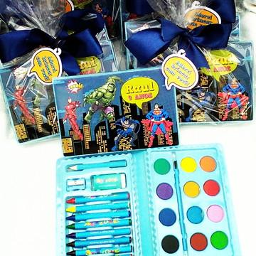 Lembrança kit pintura de colorir heróis