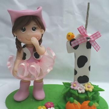 Topo de bolo fazendinha rosa