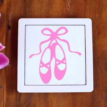 Placa/quadrinho com tecido sublimado - sapatilhas de balé