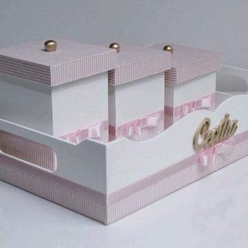 kit higiene mdf rosa listrado- Cecília