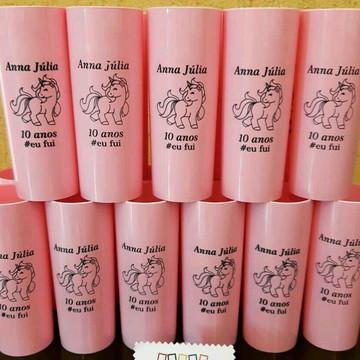 Copo Long Drink Unicornio + lembrancinhas + balas de Brinde