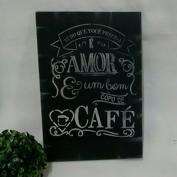 Placa Decorativa Cantinho do Café Black