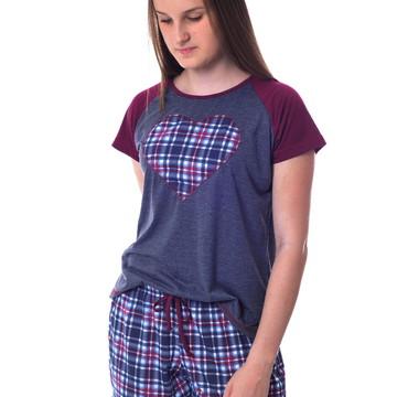 Pijama Feminino Curto Adulto com Shorts Xadrez