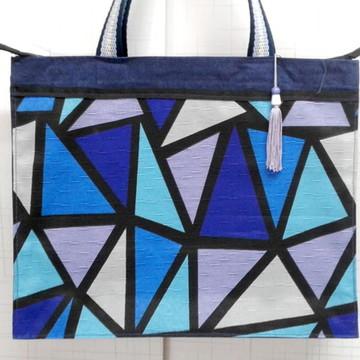 Sacola de Tecido Azul com Zíper 40x10x32 cm
