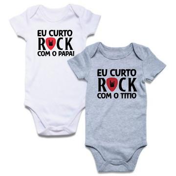 3dc55a838df Kit com 2 Bodys de Bebê Branco e Cinza Eu Curto Rock