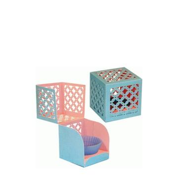 L0228 - Arquivo Silhouette Caixa Cubo Delicado Cupcake