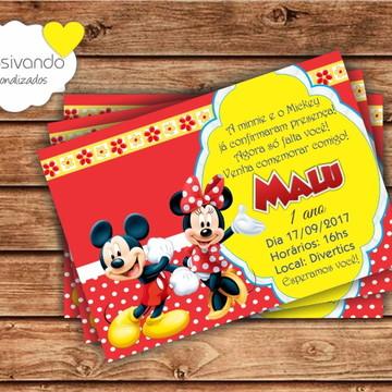 Convite de Aniversário Minnie e Mickey