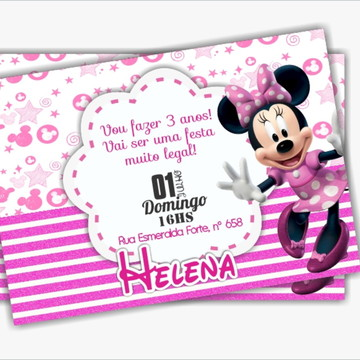 Convite de Aniversário Minnie Rosa