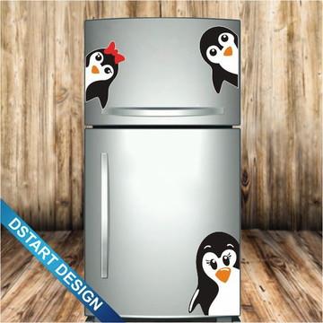 Adesivo Decoração Geladeira Família Pinguins Mod.2