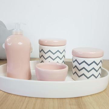 Kit Higiene Bebe Porcelana Chevrom Cinza Rosa Branco Bandeja