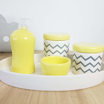 Kit Higiene Bebe Porcelana Chevrom Cinza Amarelo com Bandeja