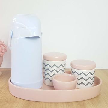 Kit Higiene Bebe Porcelana Chevrom Cinza Rosa com Garrafa