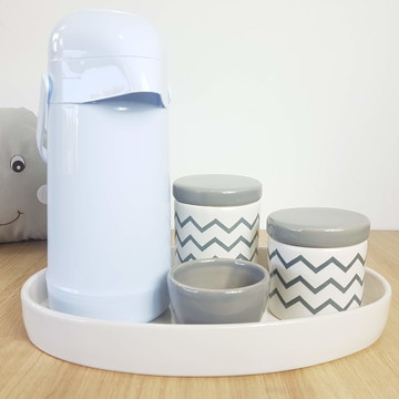 Kit Higiene Bebe Porcelana Chevrom Cinza com Garrafa