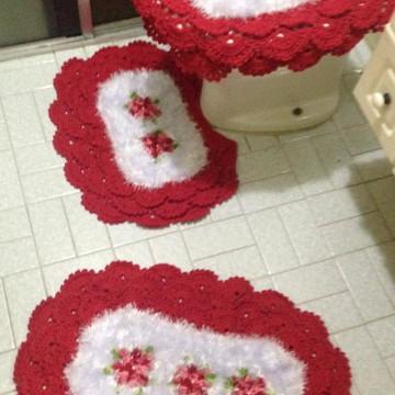 Jogo de banheiro Felpudo Vermelho e Branco