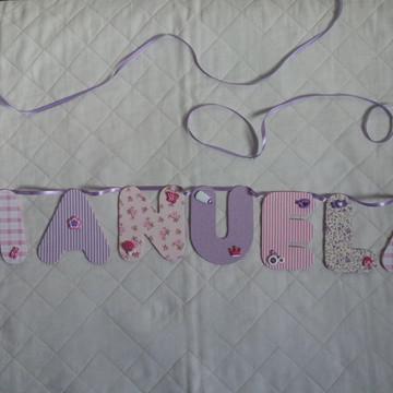 Bandeirolas,varal com nome,varal com letras de tecido