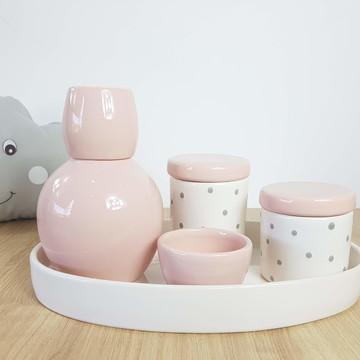 Kit Higiene Bebe Porcelana Poá Rosa Cinza com Bandeja Oval