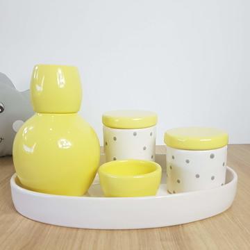 Kit Higiene Bebe Porcelana Poá Amarelo Cinza Bandeja Oval