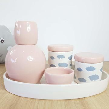 Kit Higiene Bebe Porcelana Nuvem Rosa Cinza com Bandeja Oval