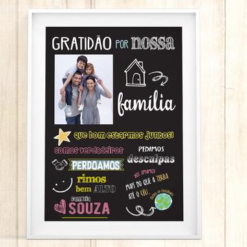 Quadro Família Frases Chalkboard