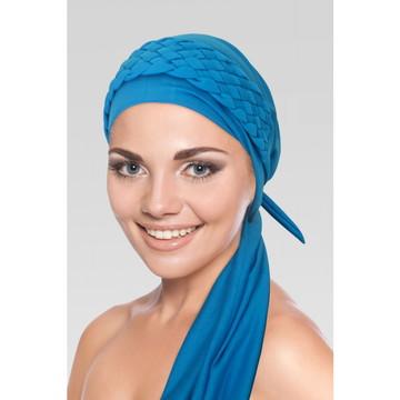 Turbante Azul Turquesa + Trança Larga Azul Turquesa