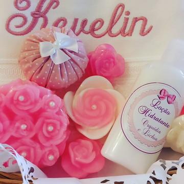 Cesta de Banho perfumada rosa