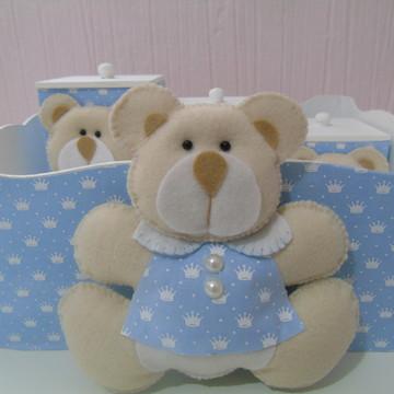Kit Higiene Urso Azul & Branco