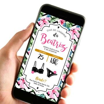 Convite Digital - Chá de Lingerie Floral