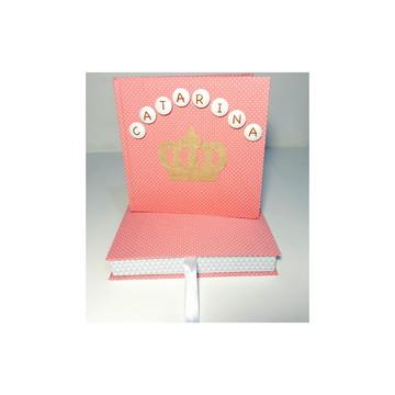 Livro do bebê tema coroa + caixa