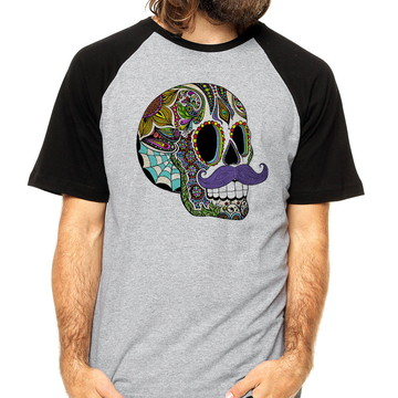 Camiseta Camisa Masculina Skull Moustache Camiseta Skull
