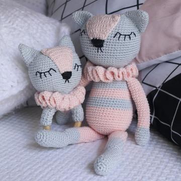 Gato Amigurumi e Chocalho Amigurumi - Conjunto