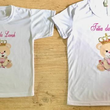 Par de blusas chá de bebê ursinha personalizada