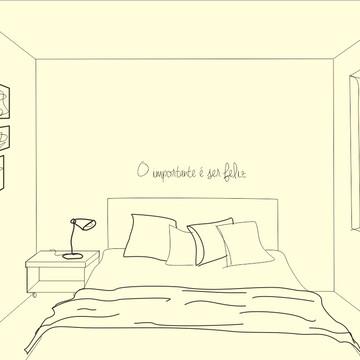 Frase de parede (arame) - O importante é ser feliz