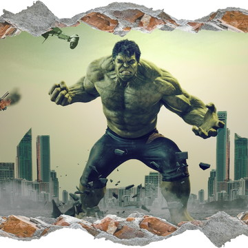 Adesivo Buraco Super Herói Hulk Marvel Quarto Filho Infantil
