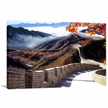 Quadro decorativo Muralha da China com Tela em Tecido