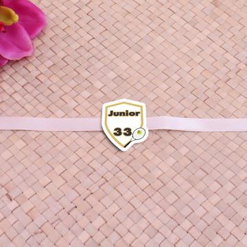 Fita com tag com texto- raquete de tênis