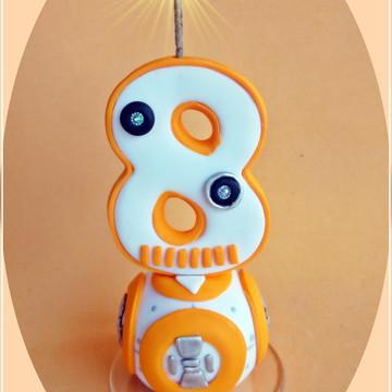 Vela estilizada Robô 12cm-cópia proibida