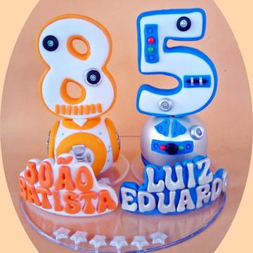 Vela estilizada Robô Star Wars+nome