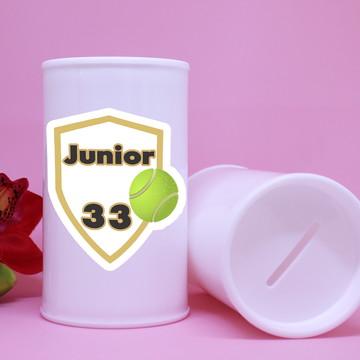 Cofrinho de plástico com texto – bola de tênis