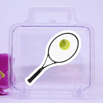 Maletinha de acrílico com adesivo- raquete de tênis