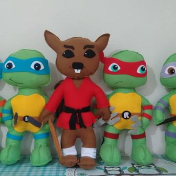 Personagens Tartarugas Ninja em Feltro - 5 Personagens