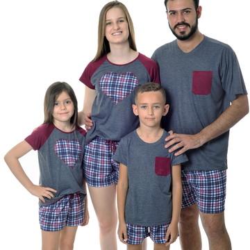 Kit Família com 5 Pijamas - Chumbo e Vinho com Xadrez